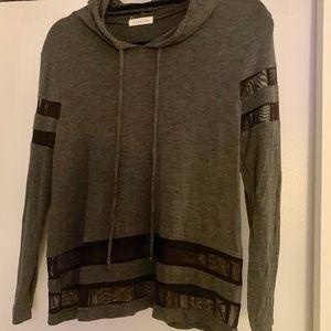 Light Long Sleeve Grey Hoodie with Mesh Detail